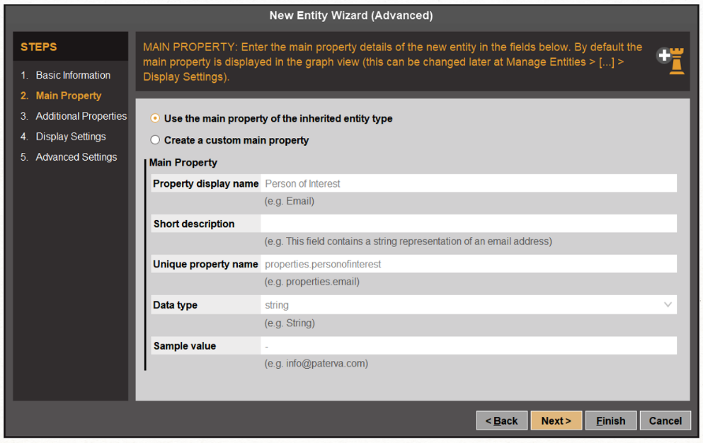 Defining main property for custom Entities in Maltego