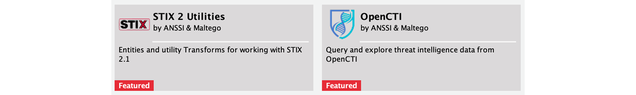 STIX2 and OpenCTI hub items in Maltego
